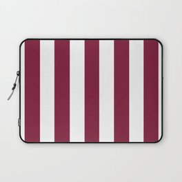 Claret purple - solid color - white vertical lines pattern Laptop Sleeve