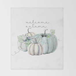 welcome autumn blue pumpkin Throw Blanket