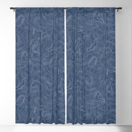 Blue Topographical Map Blackout Curtain