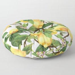 Watercolor lemon Floor Pillow