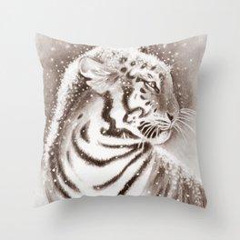 Tiger In Sepia Throw Pillow