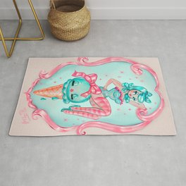 Candy Blue Ice Cream Pin Up Doll Rug
