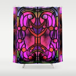 Pink and Purple Stained Glass Victorian Design Shower Curtain