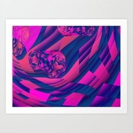 Creating Worlds – Abstract Magenta & Sapphire Magic Art Print