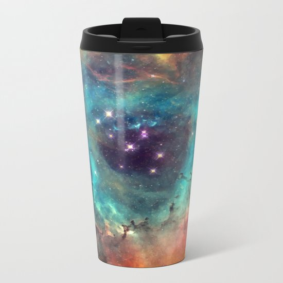 Colorful Nebula Galaxy Metal Travel Mug