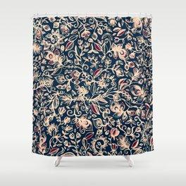 Navy Garden - floral doodle pattern in cream, dark red & blue Shower Curtain