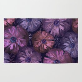 Pink and violet poppies Rug