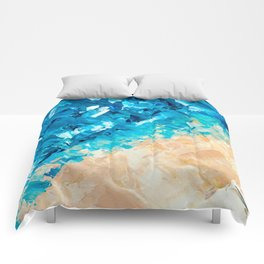 Deep | Abstract blue turquoise ocean beach acrylic brushstrokes painting Comforters