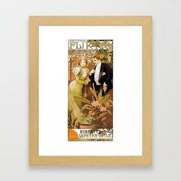 Alphonse Mucha Flirt Vintage Romantic Art Nouveau Framed Art Print
