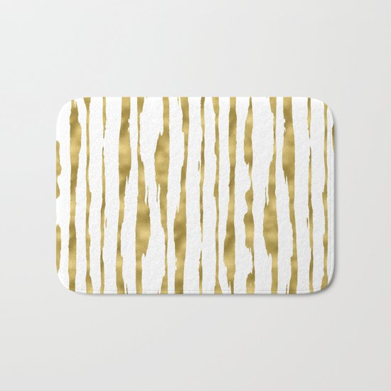 Small uneven hand painted gold stripes on clear white - vertical pattern Bath Mat