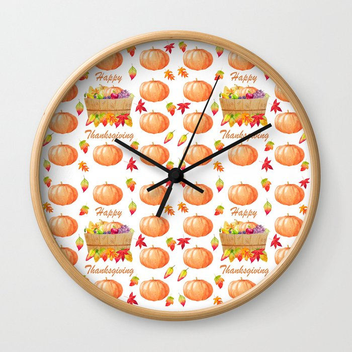 Watercolour Pumpkin Turkey Pattern Happy Thanksgiving Wall Clock