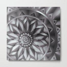 Black and White Minimalist Mandala Design Metal Print