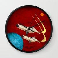 battlestar galactica Wall Clocks featuring Galactica by Tony Vazquez