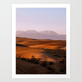Agafay Desert in Morocco | Mountain Photography | Purple Pink Sunset Art Print