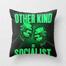 """Vintage """"The Other Kind of Socialist"""" Alcoholic Lithograph Advertisement in bright green Throw Pillow"""