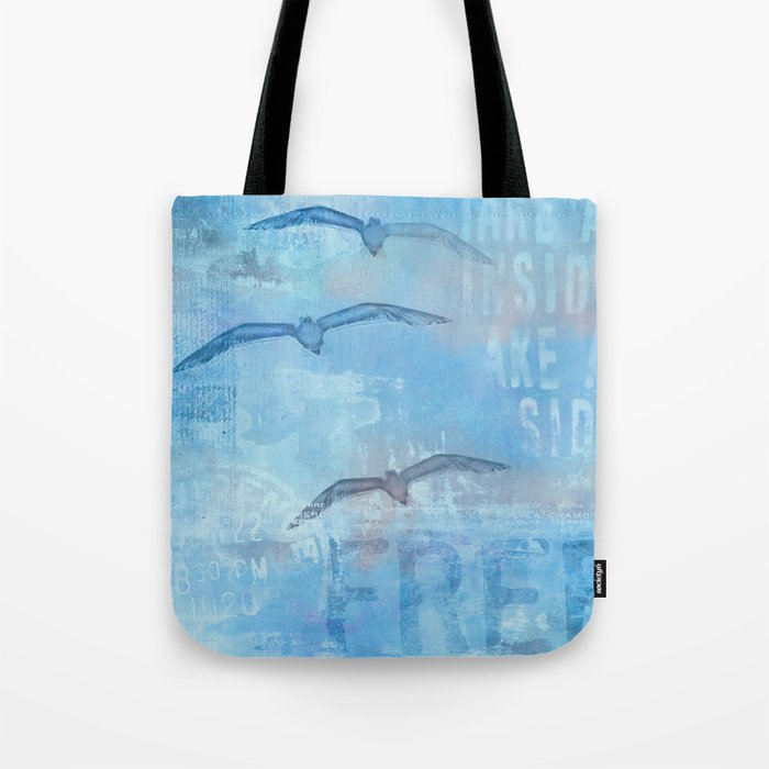 Free sea gull blue mixed media art Tote Bag
