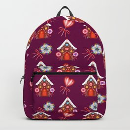 Lovely magical gingerbread houses, colorful sweet candy lollipops. Retro vintage Christmas pattern Backpack