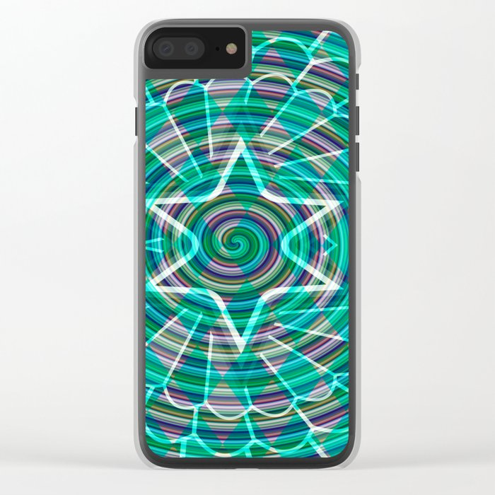 Green spiral abstraction Clear iPhone Case
