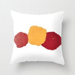 Set of brown paint, ink, grunge, dirty brush strokes. splash orange, red yellow Throw Pillow