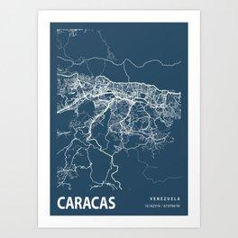 Caracas Blueprint Street Map, Caracas Colour Map Prints Art Print