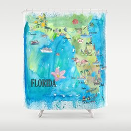 USA Florida State Fine Art Print Retro Vintage Map with Touristic Highlights Shower Curtain