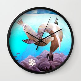 Sea Lions In Love Painting Wall Clock