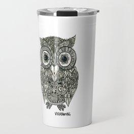 Zentangle Owl Fineliner Pen Drawing Travel Mug