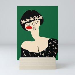 Girl with flower crown Mini Art Print