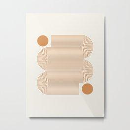 Minimalist Nesting Race Tracks Geometric Wiggly Line Pattern Orange Colors Bohemian Boho Mid Century Modern Metal Print