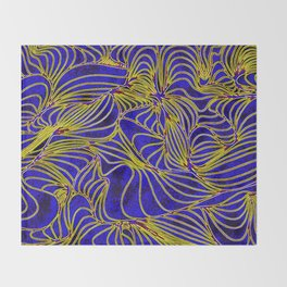 Curves in Yellow & Royal Blue Throw Blanket