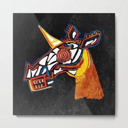 Basquiat Skull Unicorn Metal Print