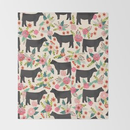 Show Steer cattle breed floral animal cow pattern cows florals farm gifts Throw Blanket