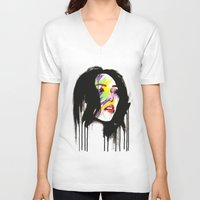 leia V-neck T-shirts featuring Leia by Robert Ekblom