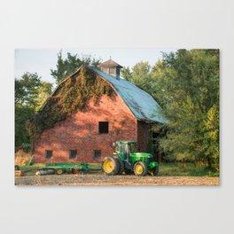 Green Tractor and Barn - Missouri Farmhouse Canvas Print