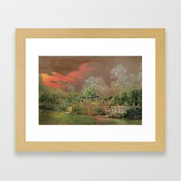 English Garden Sunset Framed Art Print