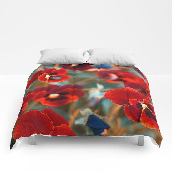 Red violas. Comforters