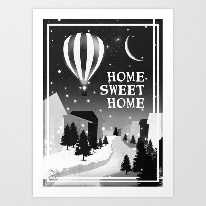 Hot Air Balloon Home Sweet Snowy Little Town Night Staroon Decor Christmas Spirit Art Print By Badenglishcat