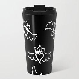 Love is king / white-on-black pattern design Travel Mug