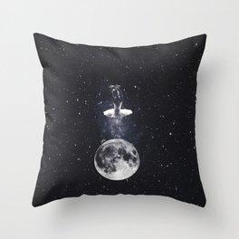 Ballerina on the moon. Throw Pillow