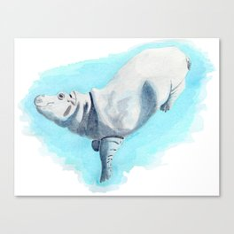 Baby Hippo On Toe Underwater Fantasia Ballet Canvas Print