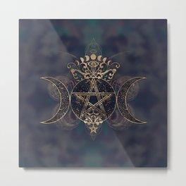 Triple Moon - Triple Goddess Gold and Purples Metal Print
