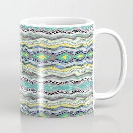 Teal Yellow White Midnight Aztec Coffee Mug