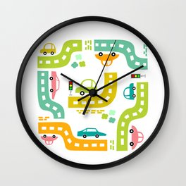 Cars, cars, cars! Watch out! Busy life in the city. Wall decor. Nursery abstract art.  Wall Clock