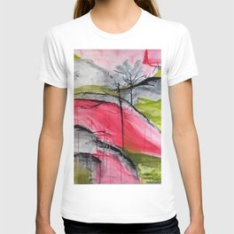 Pink Landscape. Color of Japan. Original Painting by Jodi Tomer. Abstract Artwork. T-shirt