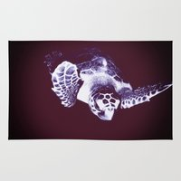 sea turtle Area & Throw Rugs featuring Sea Turtle by DistinctyDesign