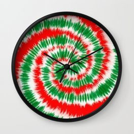Red and green tie dye  Wall Clock