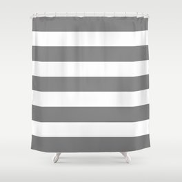 Gray (HTML/CSS gray) -  solid color - white stripes pattern Shower Curtain