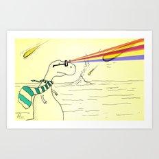 Hipster Laser Dinosaur Art Print