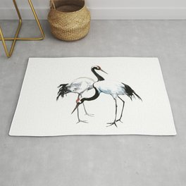 Japanese Cranes, Asian ink Crane bird artwork design Rug