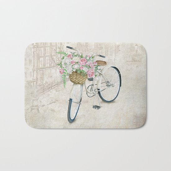 Vintage bicycles with roses basket Bath Mat